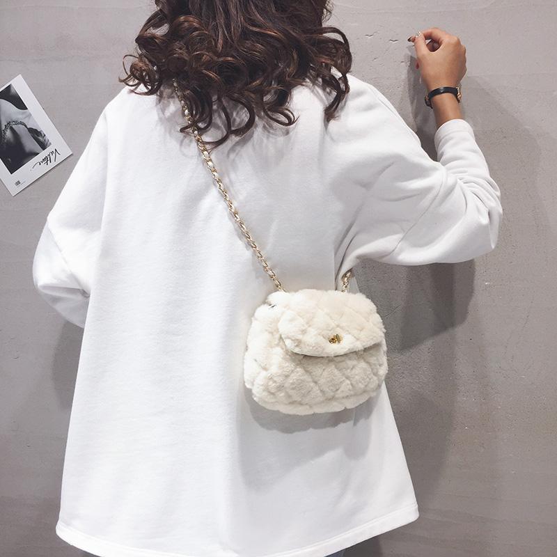菱格毛绒包包女2020秋冬新款小众单肩链条包毛毛少女百搭斜挎小包