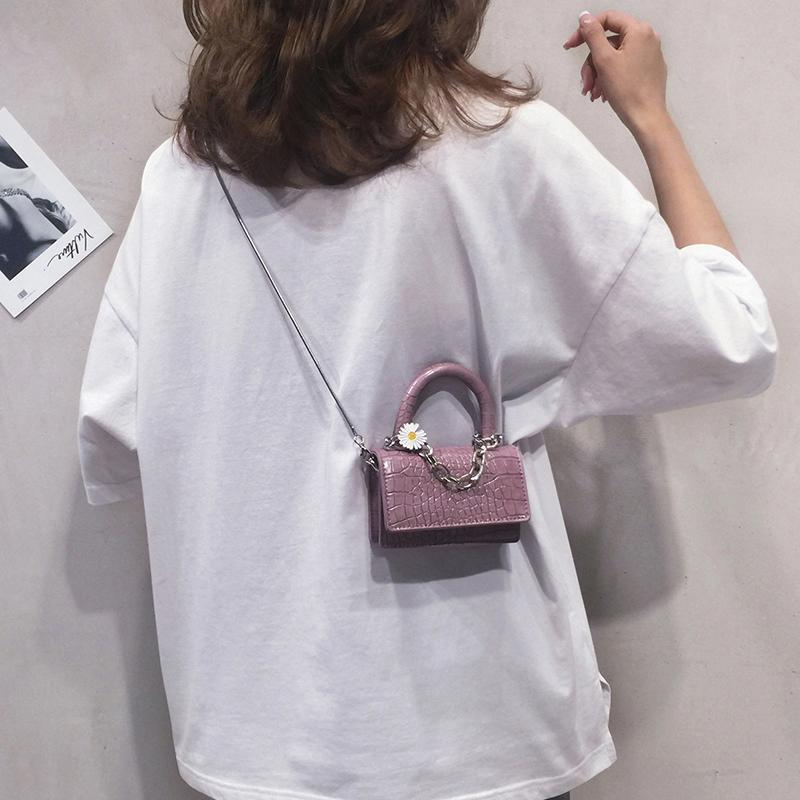 女2020新款高级感紫色手提迷你包包
