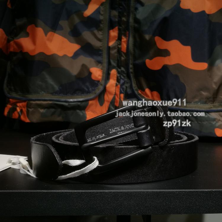 JJ/杰克琼斯 进口牛皮革针扣略窄男士腰带皮带 216399505专柜采购