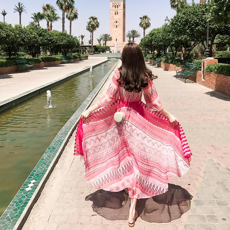 波西米亚连衣裙女夏2018新款长款沙滩裙海边度假雪纺大摆仙女长裙