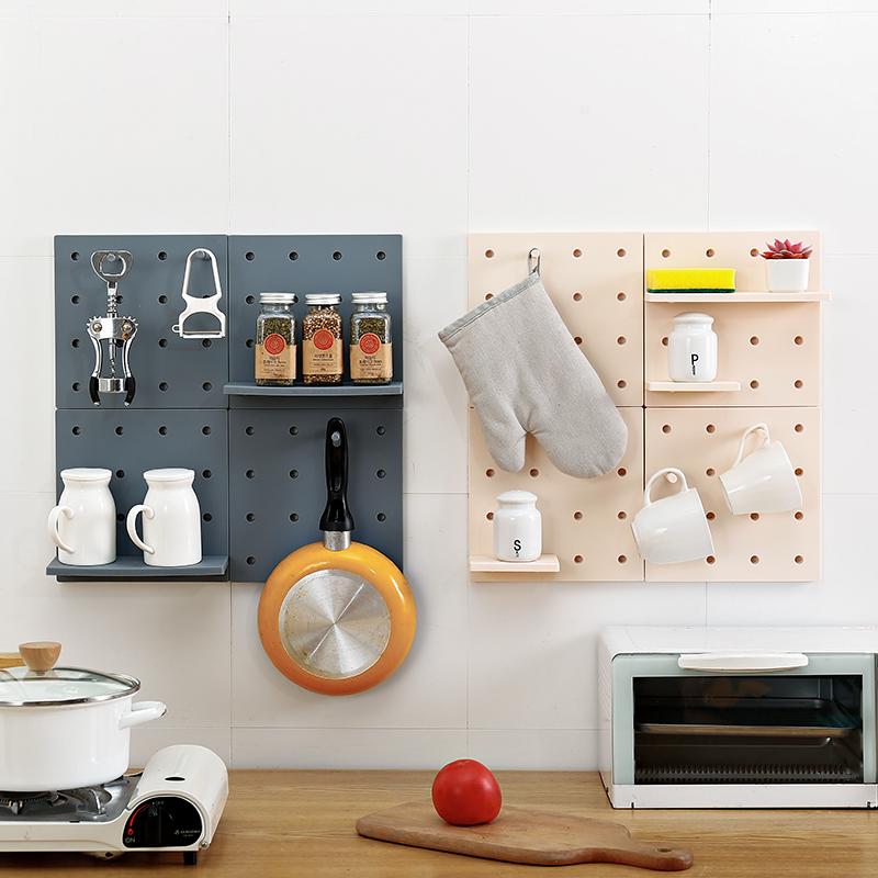 洞洞板廚房置物收納架免打孔壁掛式家用墻上日式小型儲物衛浴擱板