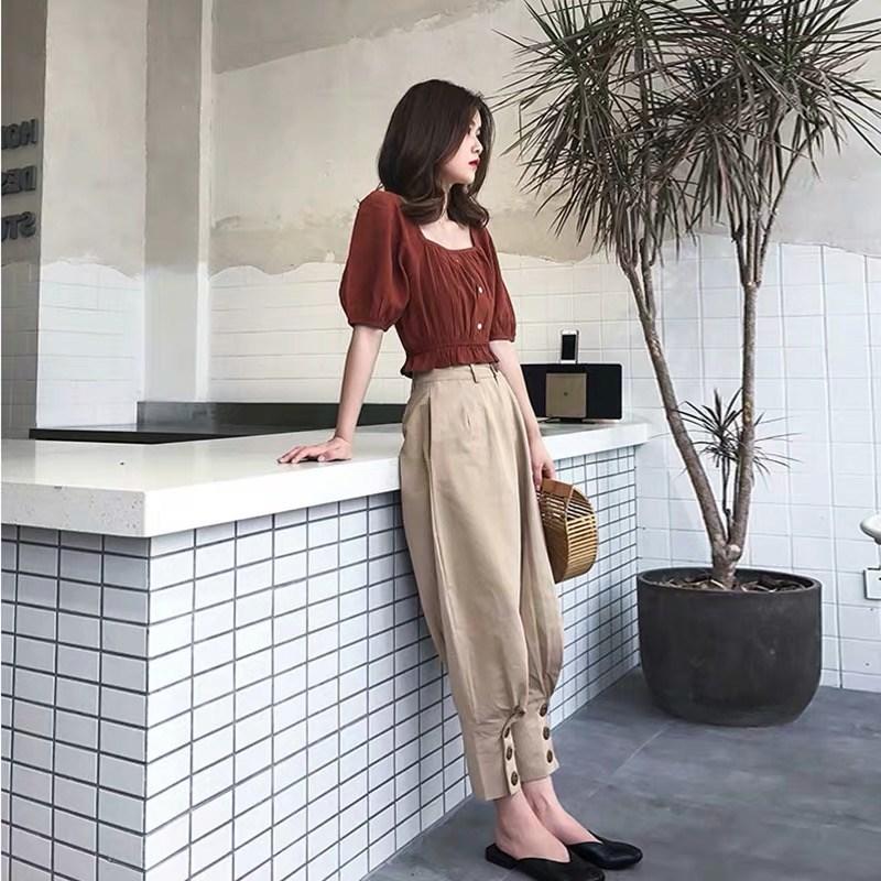 网红法式赫本套装裤很仙的小个子搭配显高俏皮法国小众两件套洋气12-02新券
