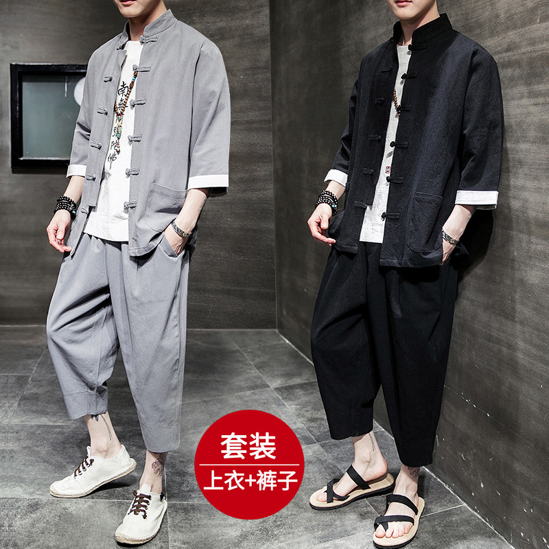 唐装亚麻套装中国风男装青年棉麻汉服复古装短袖禅服中式民族服装