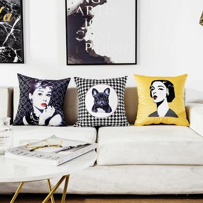 ins自主搭配北欧几何简约黄色抱枕沙发靠垫家居软装样板房靠枕套