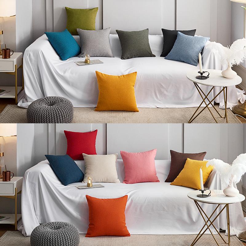 棉麻素色简约抱枕客厅沙发靠垫办公室纯色床头靠枕套加厚亚麻布艺