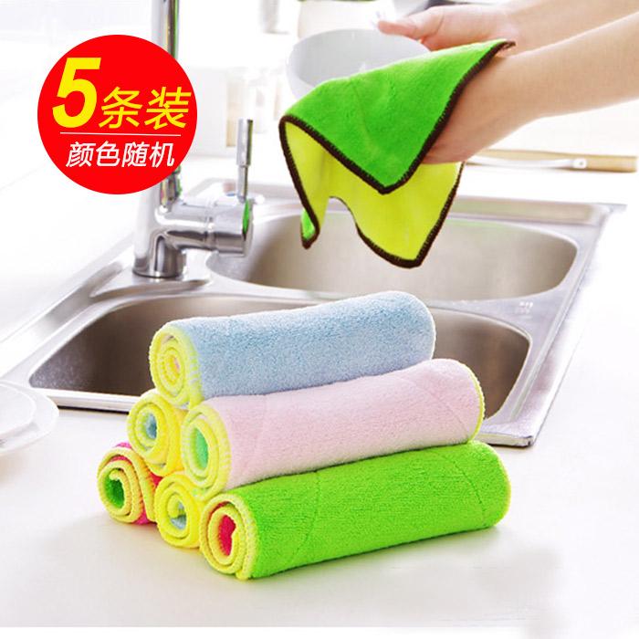 5条装厨房洗碗布不沾油加油双面吸水不掉毛清洁抹布清洁巾包邮