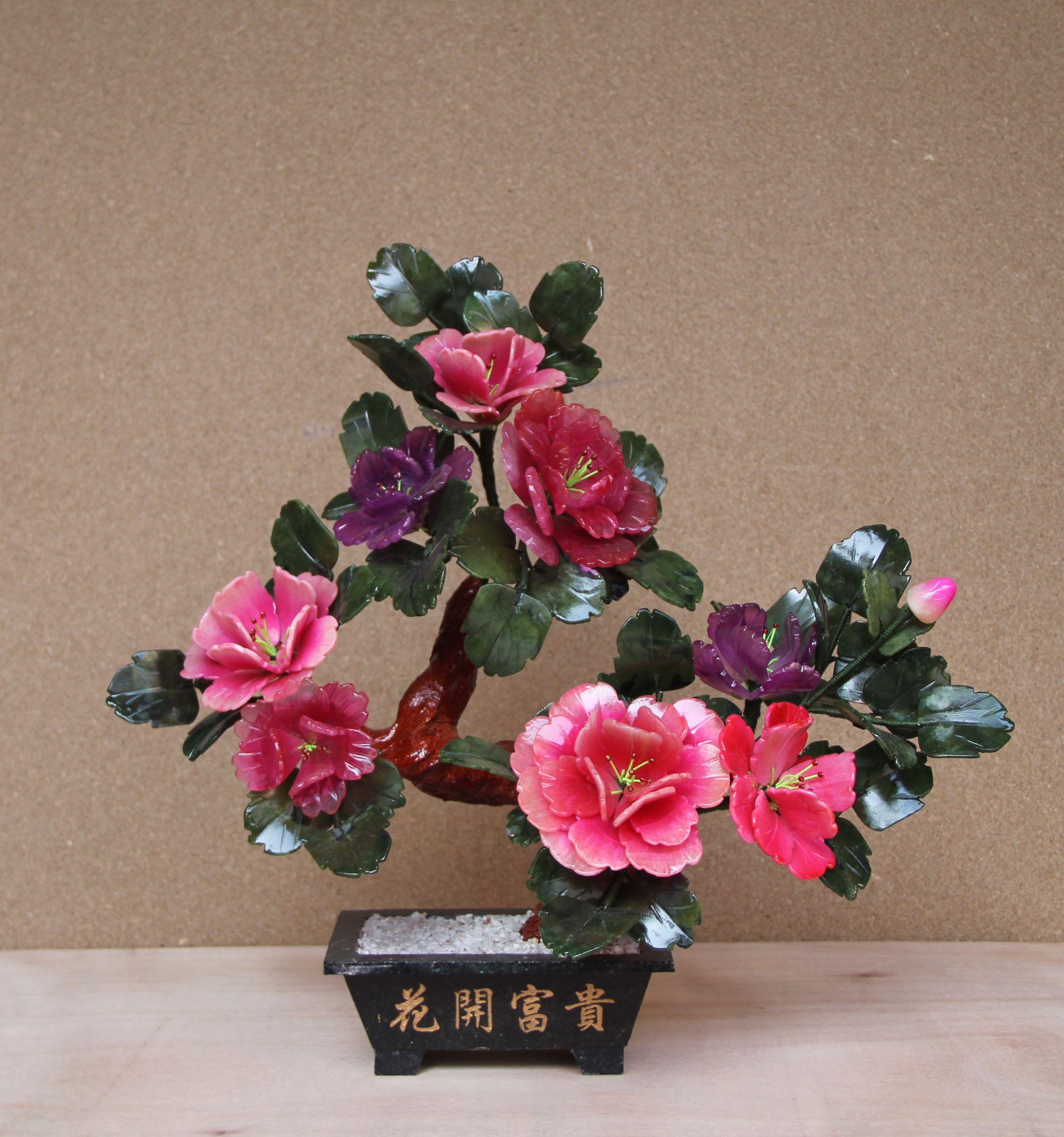 8朵牡丹花玉器家居玉石饰品工艺品现代创意装饰玉雕花盆景摆件