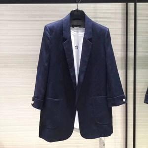 品哥弟新款官方女装2021夏装专柜正品代购七分袖棉亚麻西装外套