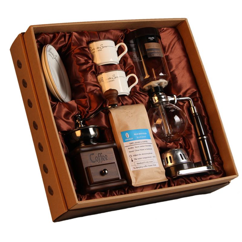 11-06新券新款虹吸式咖啡壶家用套装礼盒玻璃手动煮咖啡台湾磨豆机器具包邮