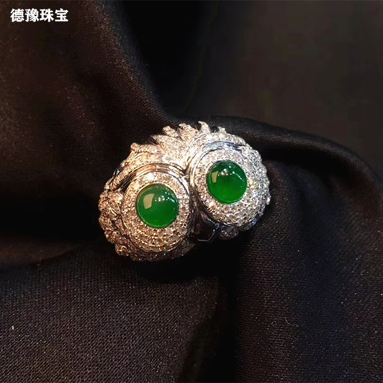 18K gold with diamond inlaid natural A-type jadeite green ring face Owl Ring jade jewelry customization