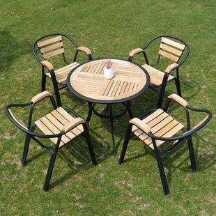 户外实木家具庭院阳台防腐木质桌椅室外露天咖啡休闲桌椅组合套件