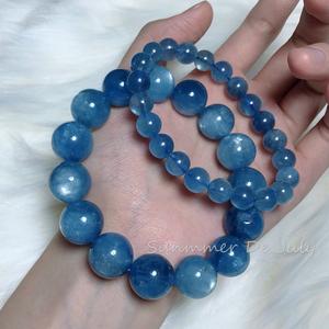 七月夏天珠宝天然星光海蓝宝手链冰种鬼蓝色转运时尚饰品男女款