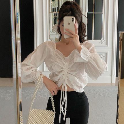 超仙美褶皱泡泡袖2019夏季短款衬衫