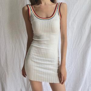 夏天短款性感连衣裙女2018新款拼色紧身包臀针织背心吊带内搭裙子