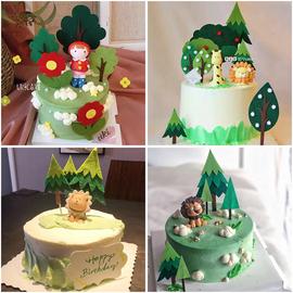 毛毡小树烘焙蛋糕装饰插件森林卡通布艺树木插牌森系动物蛋糕装饰图片