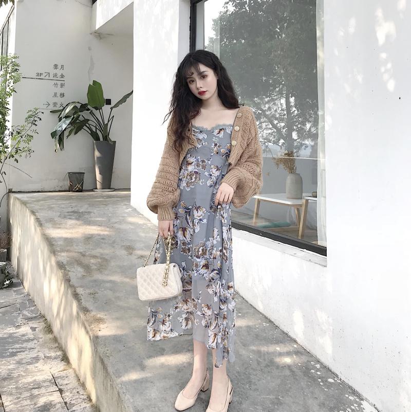 實拍實價控價+5氣質優雅吊帶蕾絲連衣裙+復古鏤空燈籠袖毛衣開衫