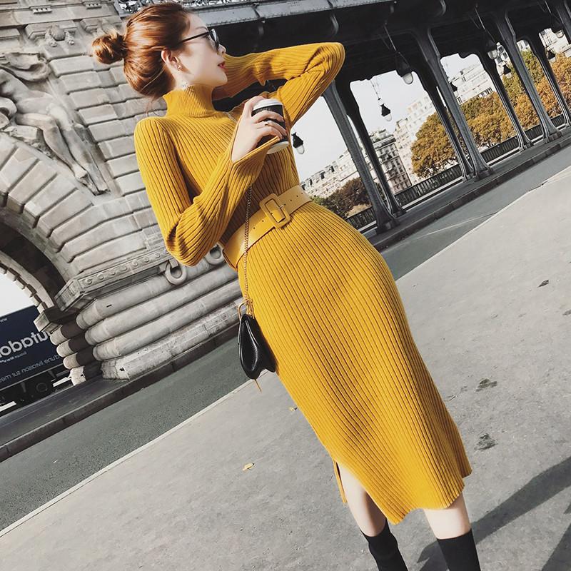 秋冬新款高领针织连衣裙女中长款修身过膝一步打底收腰包臀毛衣裙