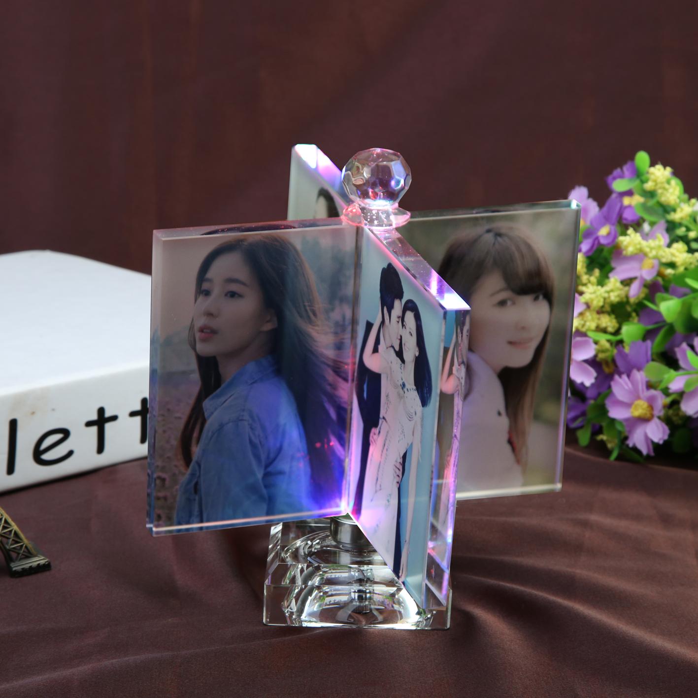 Кристалл свет ветряная мельница куб фото сделанный на заказ diy подарок творческий вращение качели личность производство кристалл альбомы