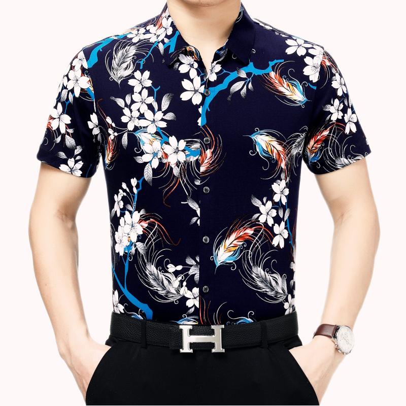 2019中年男士短袖花衬衫 新款夏装男装薄款衬衫爸爸装