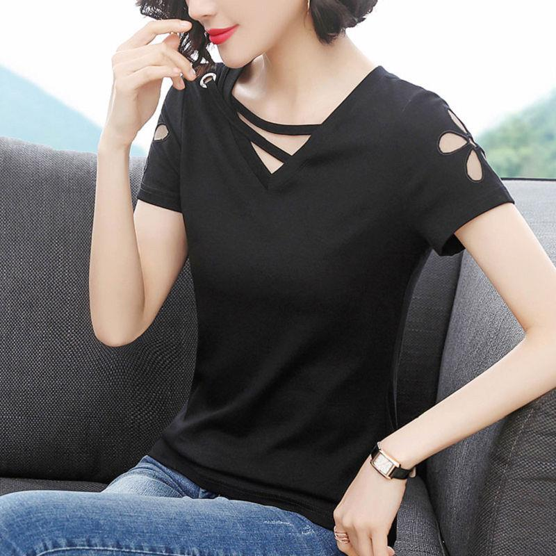 Embroidered Flower short sleeve T-shirt womens summer 2020 new large womens cotton V-neck top slim and versatile T-shirt