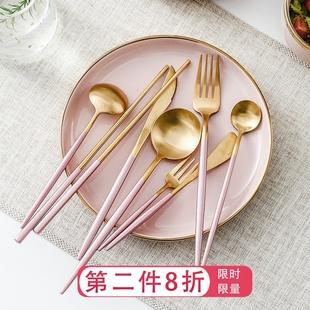 粉色ins风304不锈钢刀叉勺筷网红套装家用西餐牛排刀水果叉甜品勺图片