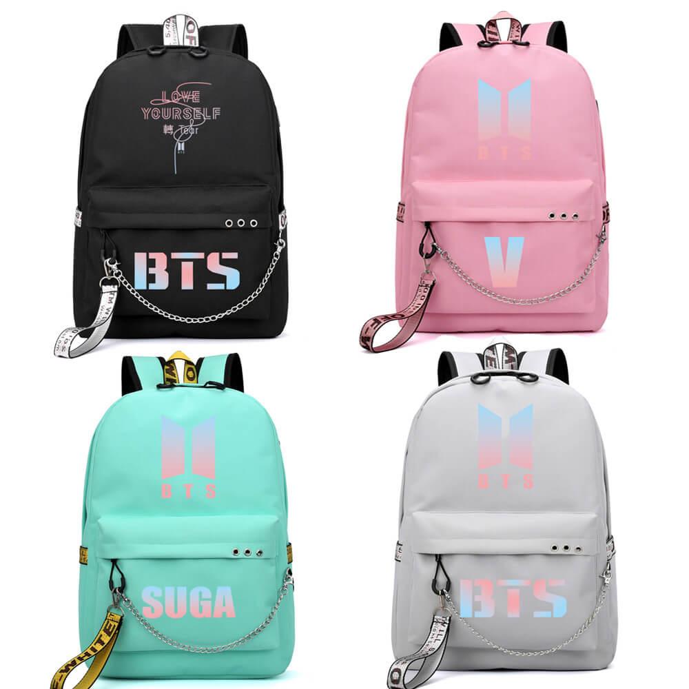 BTS backpack bulletproof youth group same bag Korean travel bag boys and girls USB charging bag BTS schoolbag