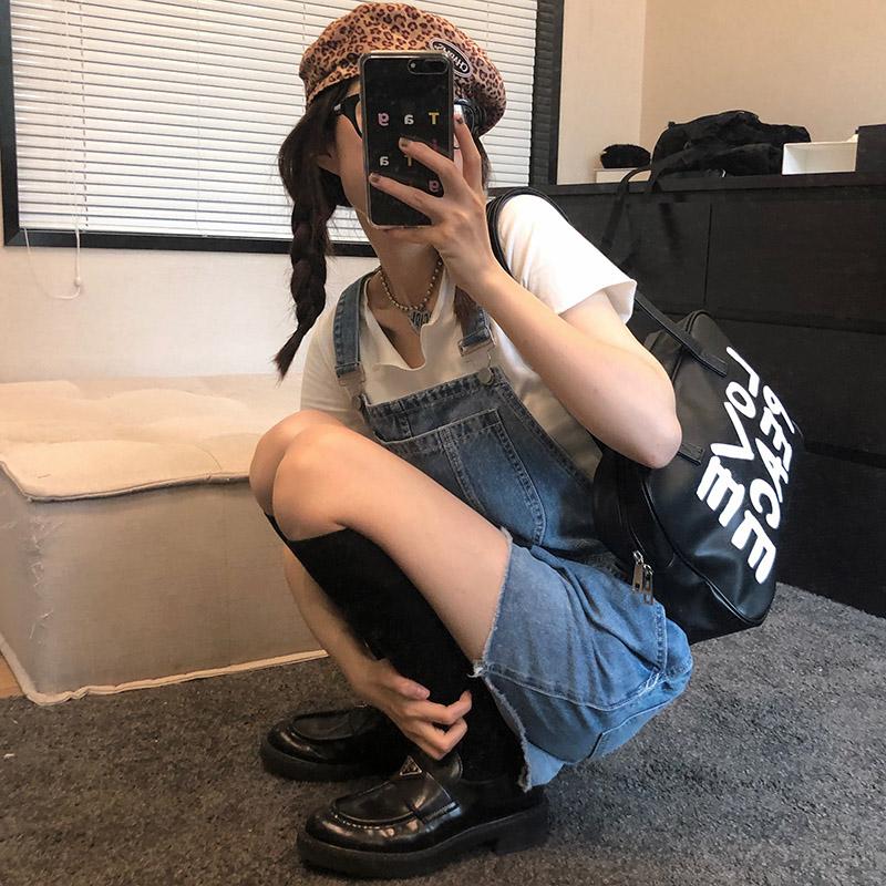 王少女的店牛仔背带2021年新款短裤