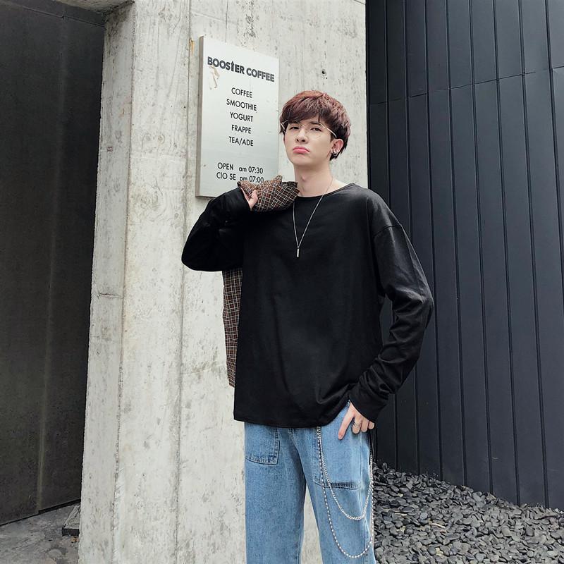 新款 纯棉百搭长袖宽松T恤打底衫XZ-221-5-W02-P35