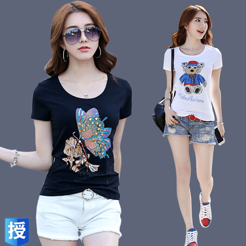 European station heavy industry bear European T-shirt pure cotton short sleeve slim fit short style foreign style with pattern bottoming shirt woman