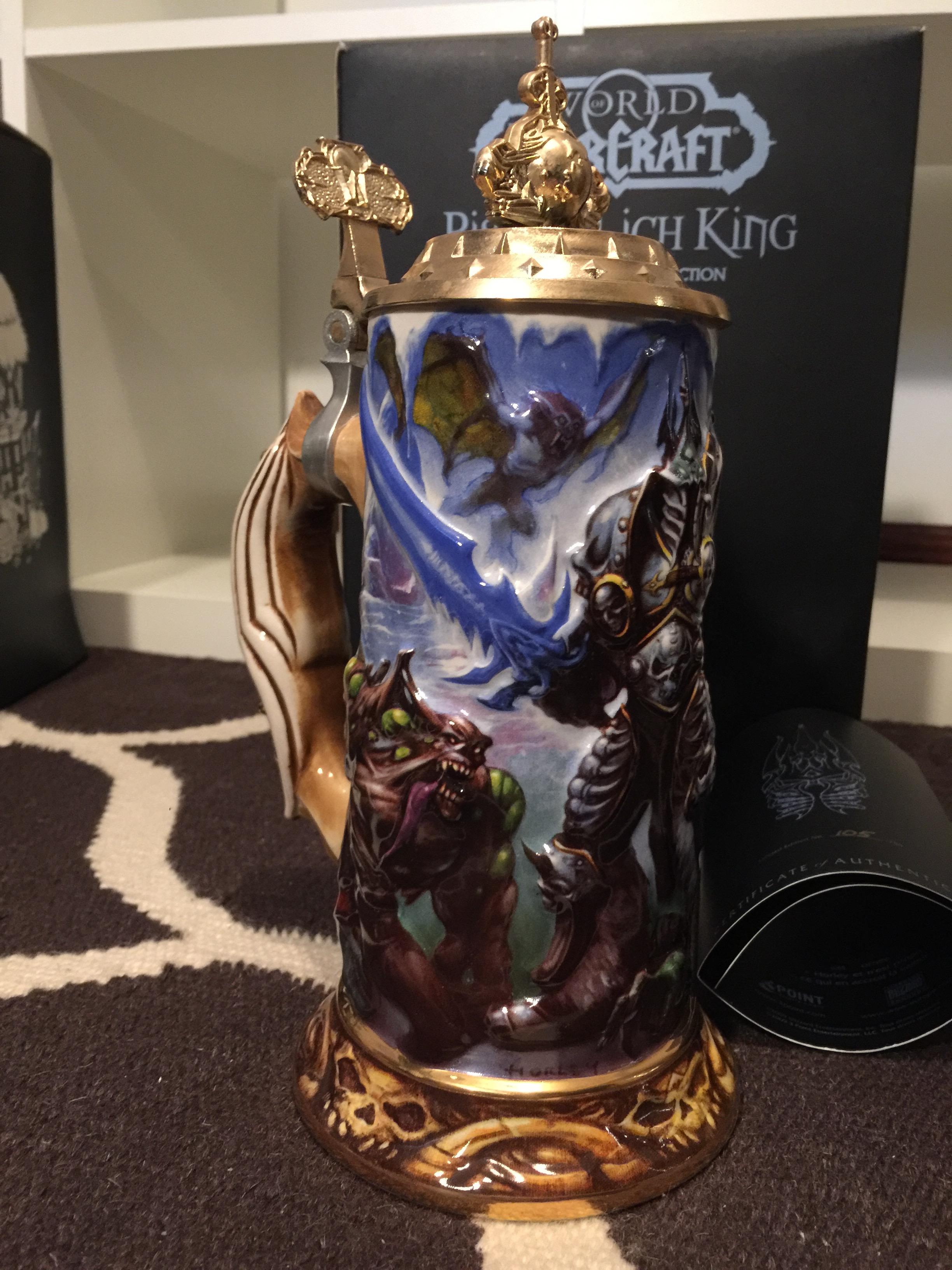 现货 魔兽世界 啤酒杯 典藏 镀金 传说 史诗  巫妖王 鱼人 超稀有