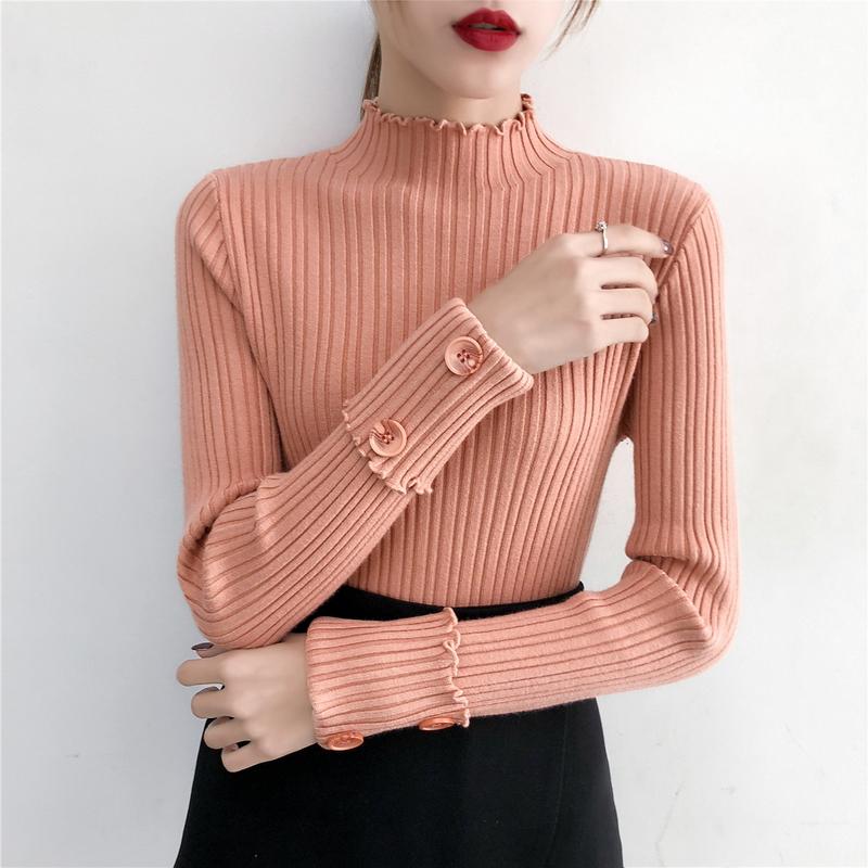 實拍秋冬新款半高領加絨毛衣女韓版修身顯瘦氣質針織衫打底