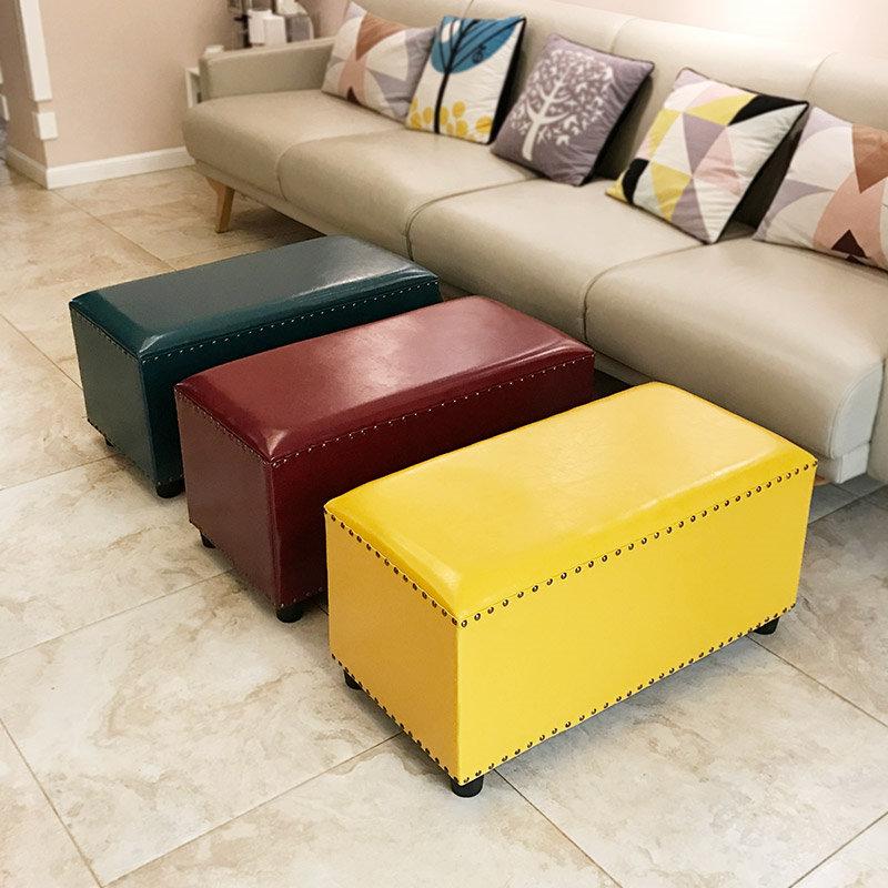 浪朵时尚创意沙发凳皮墩子美式精品服装店换鞋凳长方形坐墩休息凳