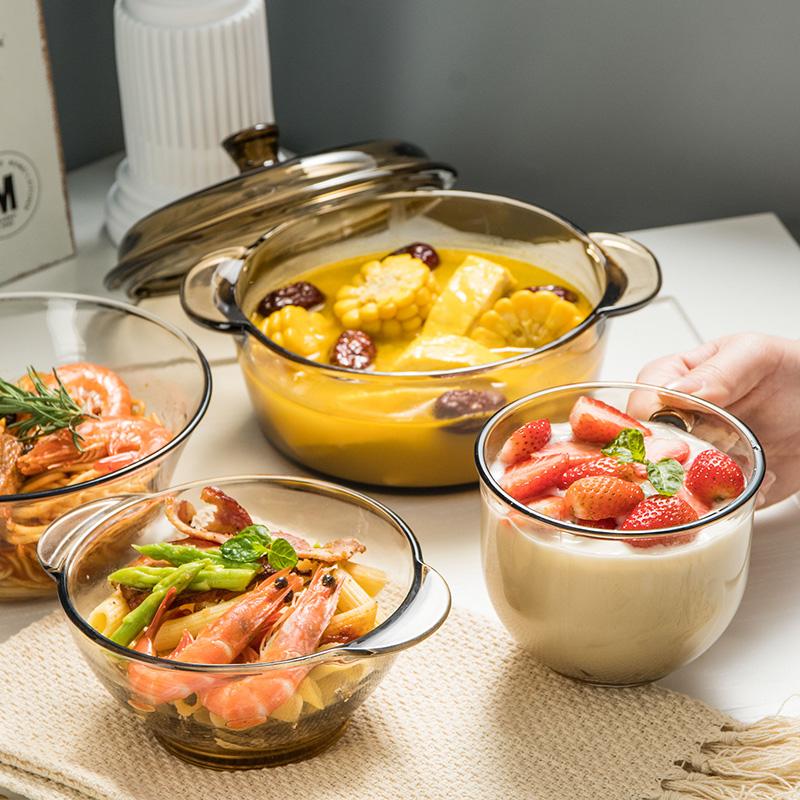 2件套北欧茶色玻璃碗米饭碗双耳沙拉碗麦片碗甜品碗家用耐热防烫