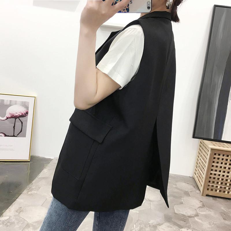 马夹背心女士时尚新款韩版黑色外穿潮坎肩2020春秋装西装马甲外套