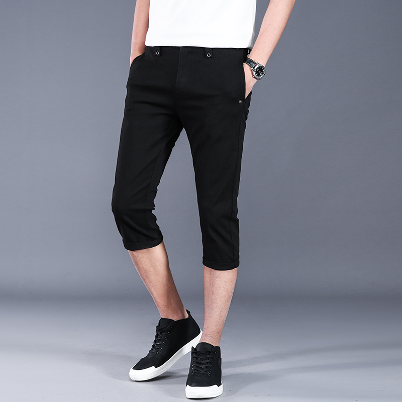 Summer casual shorts mens trend 7-point pants mens Korean version slim high elastic 7-point pants mens versatile pants thin