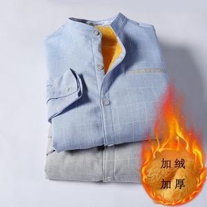 秋冬季男士衬衫加绒加厚款衬衣撞色领保暖打底上衣潮免烫8841...