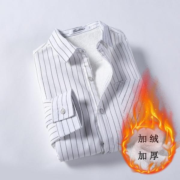 秋冬季男士衬衫加绒加厚款衬衣撞色领保暖打底上衣潮免烫8846#