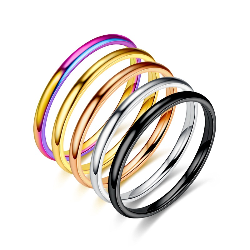 2mm titanium steel thin men and women Korean version of minority ring network popular European and American stainless steel smooth face couple ring free of mail