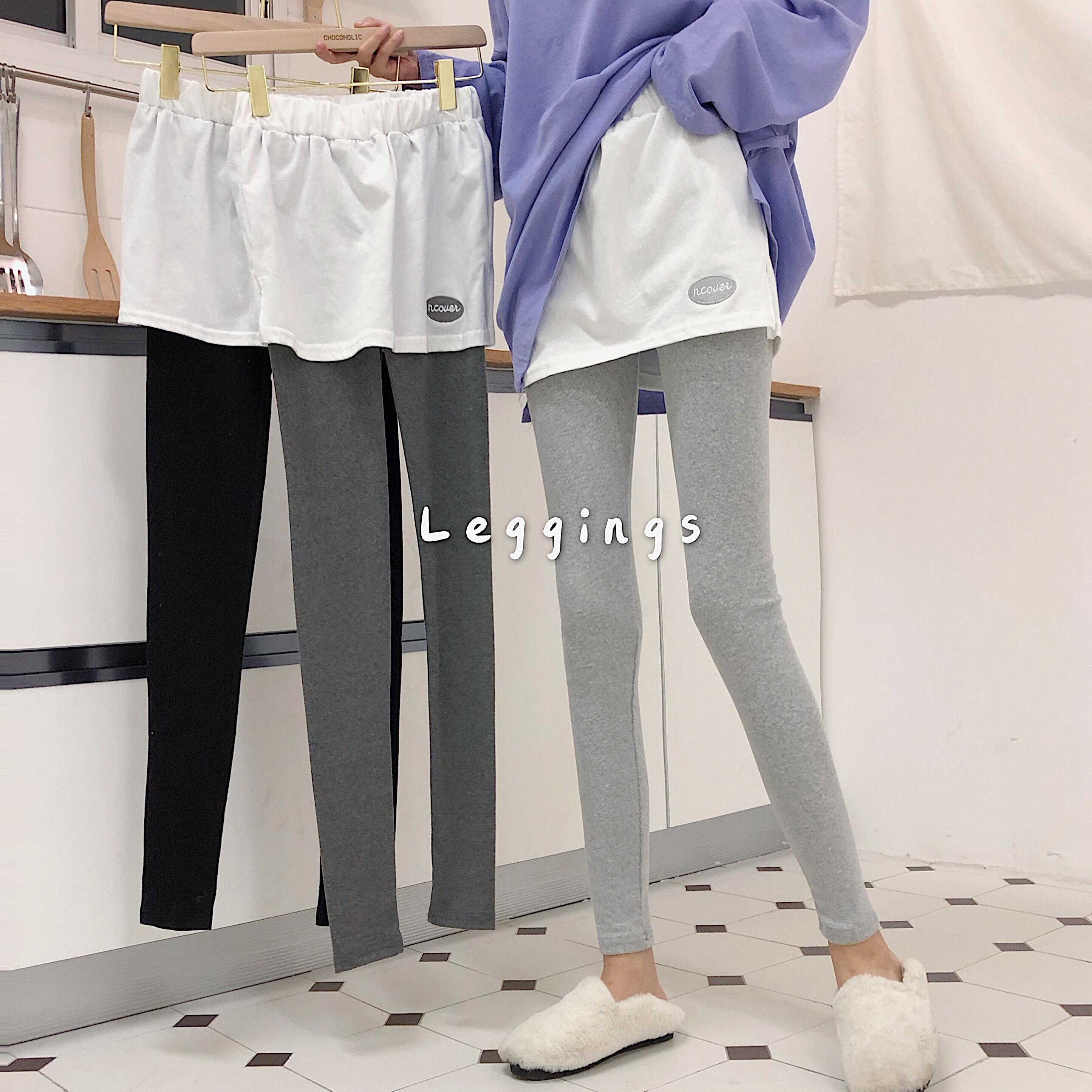 实拍实价韩版新款刺绣字母假两件磨毛显瘦打底裤裙裤