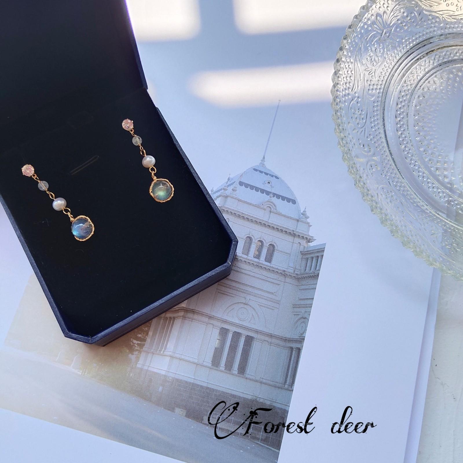 Senlu hand made retro Moonstone Earrings Pearl Earrings long Moonstone Pearl Earrings