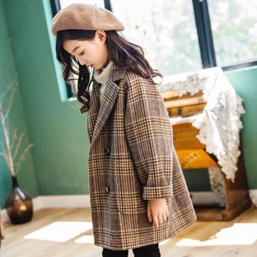 双面羊绒大衣秋冬格子女中长款小个子羊毛呢外套高端大气修身风衣