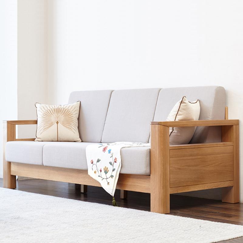 实木沙发北欧橡木沙发组合单人三人位木质现代简约小户型客厅家具