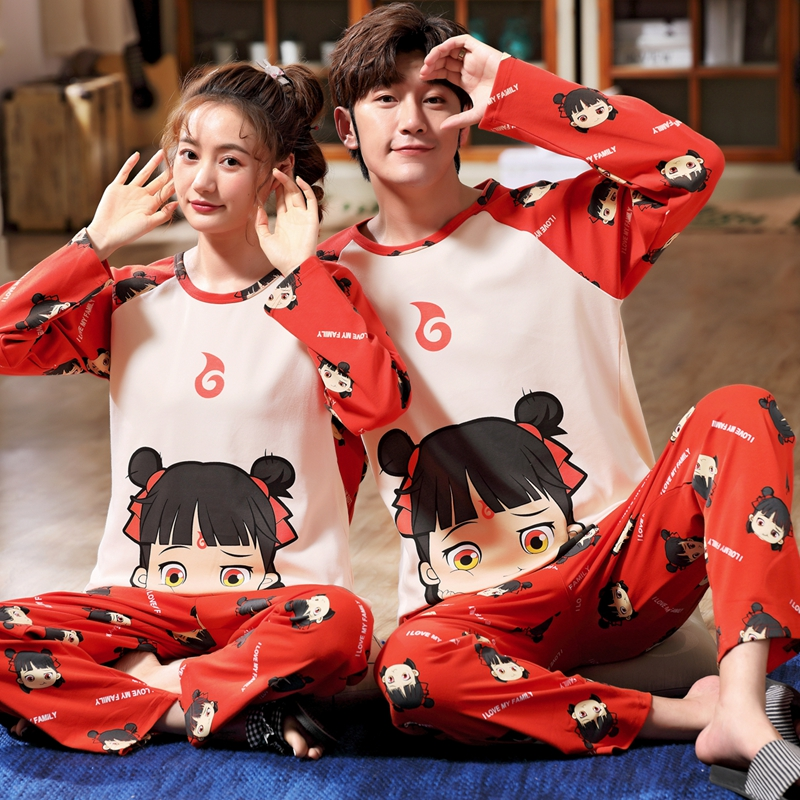 Nezha pajamas couples plus fat plus size womens pure cotton mens long sleeve youth spring and autumn fat mm home clothes