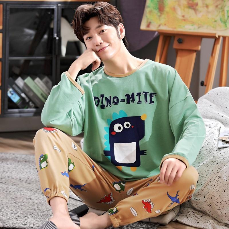 Dinosaur pajamas mens spring and autumn junior high school students pure cotton youth long sleeve fat boy plus fat size mens home clothes