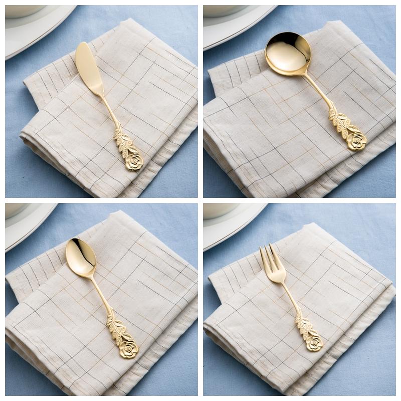现货日本制elfin 高桑金属不锈钢镀金玫瑰咖啡勺茶勺黄油刀点心叉