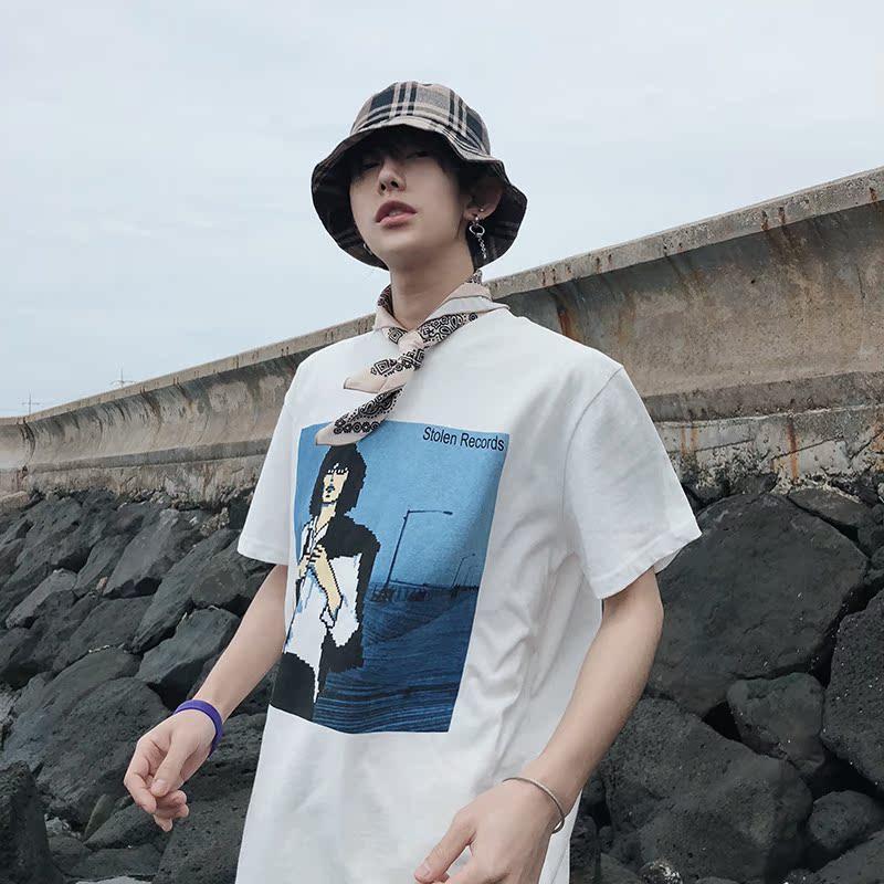 Leman金俊  韩版学院潮流风低像素个性印花纯棉短袖宽松白色T恤男