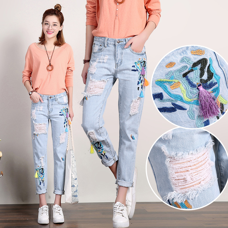 Versatile spring small feet Korean embroidered jeans for women 2016 new loose embroidery 9-point holes show slim BF