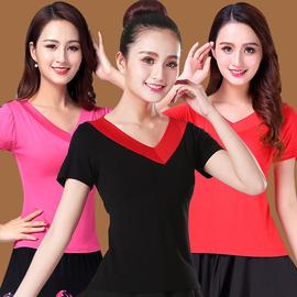 2020广场舞服装夏季新款上衣女式V领短袖跳拉丁舞蹈练功服瑜伽服图片