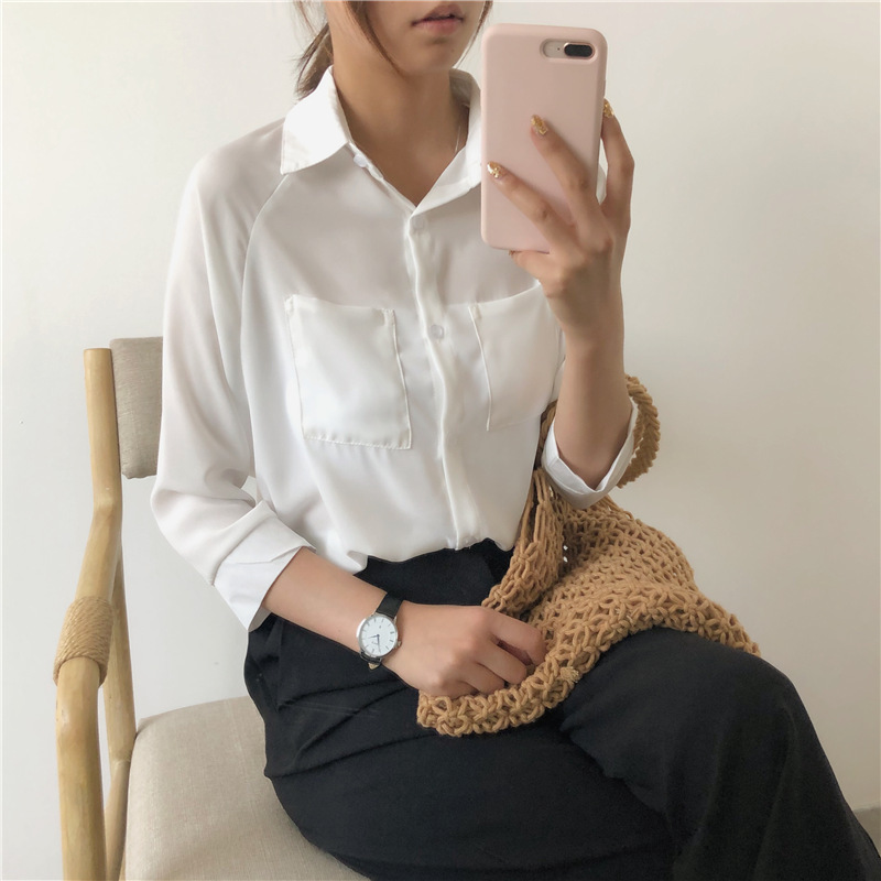 Chiffon Shirt Top leakage clavicle careful machine spring and Autumn New Womens clothing in 2019 loose and thin long sleeve