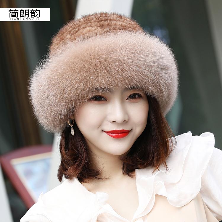 シルクハットの新しいミンクの編み物の王女の帽子のミンクの毛皮の帽子の女性の冬テンの毛のキツネの毛皮の韓国版のファッション的なたらいの帽子